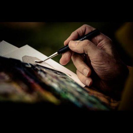 Andrew Logan watercolouring at Sarnath India 2016© James Nicholls