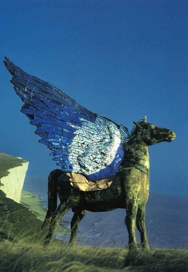 Pegasus at Beachy Head, public commission by Andrew Logan