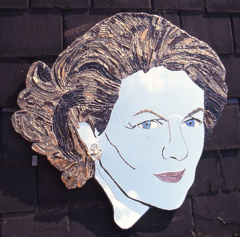 Baroness Florence Marzotto, 1983, mirror portrait by Andrew Logan, glass and mosaic artist London