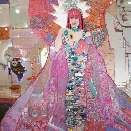 Zandra Meets Klimt - 5x7 - mirror portrait by Andrew Logan, glass and mosaic artist London